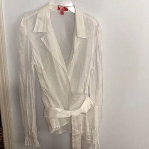 Oscar de la renta white sheer blouse size L